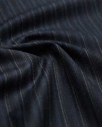 Костюмная шерстяная ткань темно-синего цвета в серые полоски арт. ГТ-2912-1-ГТ0047790