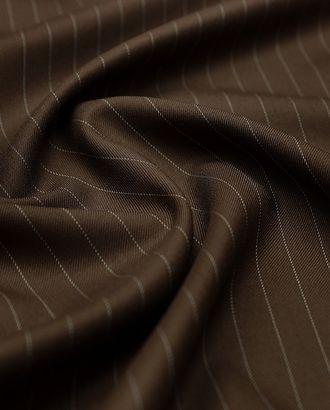 Классическая костюмная ткань шоколадного цвета в тонкую полосочку арт. ГТ-3034-1-ГТ0047917