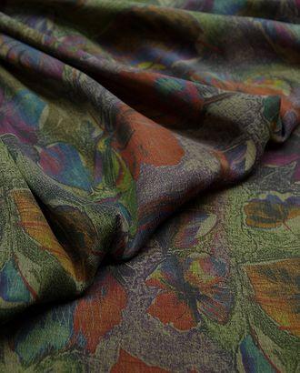 Великолепная плательная ткань с растительным принтом на темно-зеленом фоне  (177 г/м2) арт. ГТ-3245-1-ГТ0047982