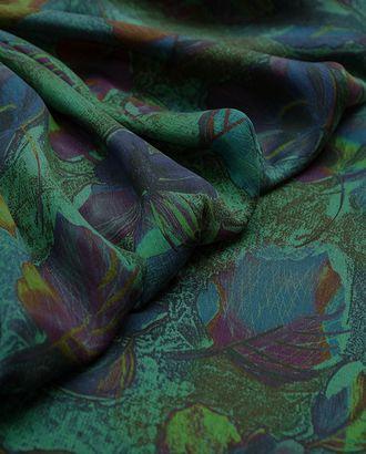 Великолепная плательная ткань с растительным принтом на зеленом фоне  (177 г/м2) арт. ГТ-3247-1-ГТ0047984