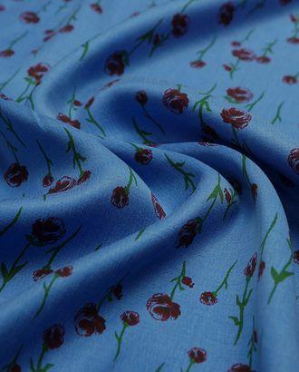Великолепная плательная ткань с мелкими цветами на синем фоне  (177 г/м2) арт. ГТ-3248-1-ГТ0047985
