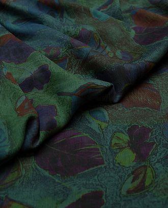 Великолепная плательная ткань с растительным принтом на темно-зеленом фоне (177 г/м2) арт. ГТ-3249-1-ГТ0047986