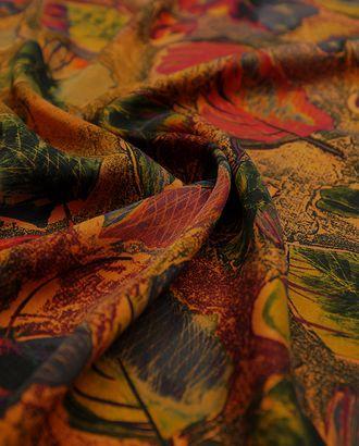 Великолепная плательная ткань с растительным принтом на оранжевом фоне  (177 г/м2) арт. ГТ-3250-1-ГТ0047987