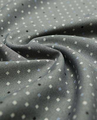 Великолепная жаккардовая ткань на сером меланжевом фоне кубики (195 гр/м2) арт. ГТ-3261-1-ГТ0047999