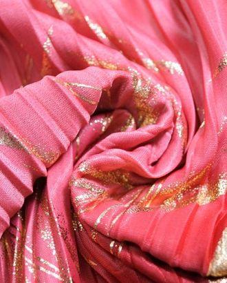 Ткань плиссе, золотые штришки на красно-розовом фоне арт. ГТ-4025-1-ГТ0000732