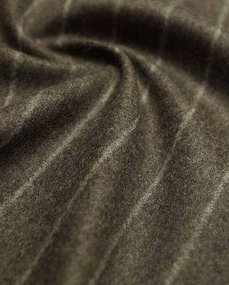 Шерстяная двухсторонняя пальтовая ткань шоколадного цвета в белые тонкие полоски арт. ГТ-2626-1-ГТ0047406