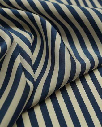 Шелк блузочный в полоску сине-белого цвета арт. ГТ-2333-1-ГТ0047039