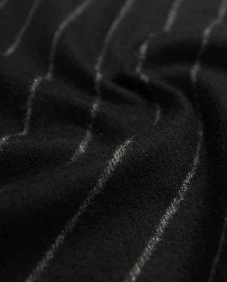 Двухсторонняя черная пальтовая шерстяная ткань в тонкие белые полосы арт. ГТ-2629-1-ГТ0047409