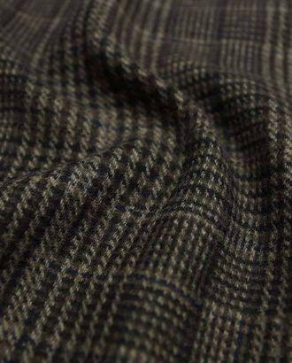 Двухсторонняя шерстяная пальтовая ткань, оригинальная клетка в коричнево-черных тонах арт. ГТ-2634-1-ГТ0047414