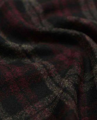Двухсторонняя черная шерстяная пальтовая ткань в клетку бежевого и красного цветов арт. ГТ-2636-1-ГТ0047416