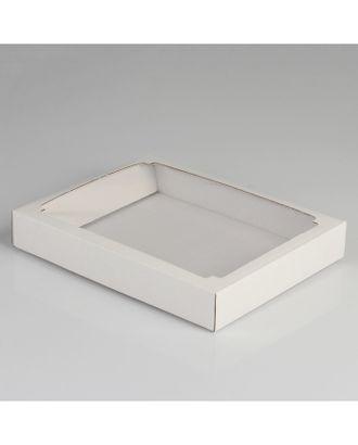 Коробка сборная, крышка-дно, с окном, белая, 26 х 21 х 4 см арт. УППЧ-2-1-37384