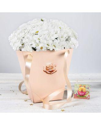 Пакет для цветов трапеция «Чайная роза» арт. ЦУТ-1-1-37378
