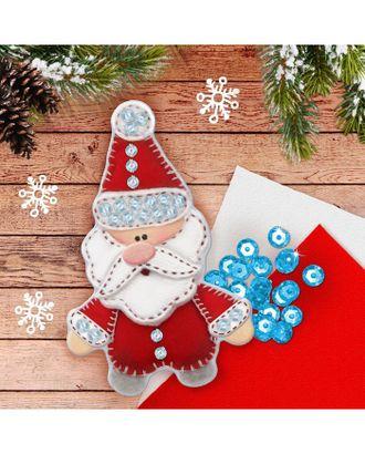 """Новогодняя елочная игрушка из фетра """"Дед Мороз"""" арт. НДТФ-2-1-37386"""
