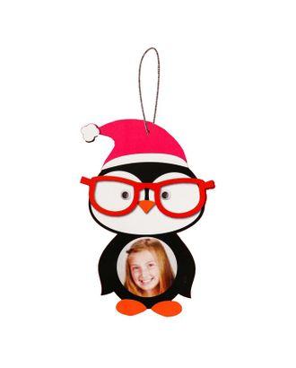 """Набор для создания ёлочной игрушки-фоторамки """"Пингвин в очках и в шапочке"""" арт. ТНБГ-1-1-37455"""