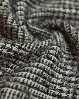 Буклированная двухсторонняя пальтовая шерстяная ткань в мелкую клетку черно-белого цвета арт. ГТ-2619-1-ГТ0047399