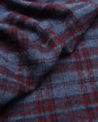Воздушная шерстяная ткань серо-голубого цвета в красно-черную клетку арт. ГТ-2637-1-ГТ0047417