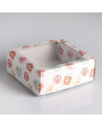 Коробка сборная крышка-дно с окном р.14,5 х 14,5 х 6 см арт. УППЧ-1-1-37377