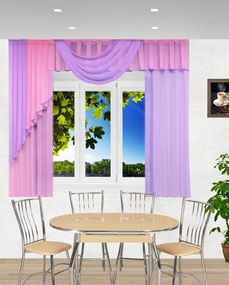 "Комплект штор для кухни ""Элла"" сиреневый-розовый арт. ТКС-86-1-ТКС0017540327"