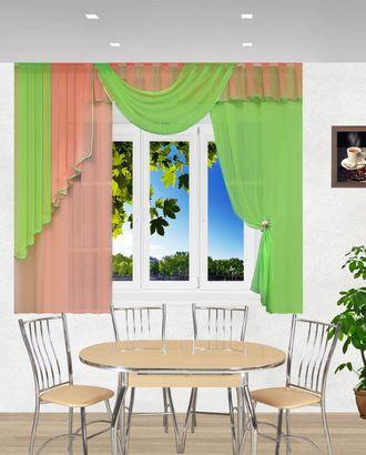 "Комплект штор для кухни ""Элла"" салатовый-персиковый арт. ТКС-87-1-ТКС0017540328"
