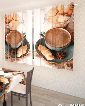 """Фотошторы для кухни """"Французский завтрак"""" атлас 2,6*1,8 на шторной тесьме арт. ТКС-601-1-ТКС0017562764"""