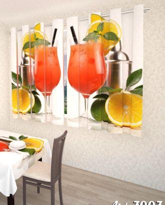 """Фотошторы для кухни """"Фруктовый коктейль"""" атлас 2,6*1,8 на люверсах арт. ТКС-602-1-ТКС0017562765"""