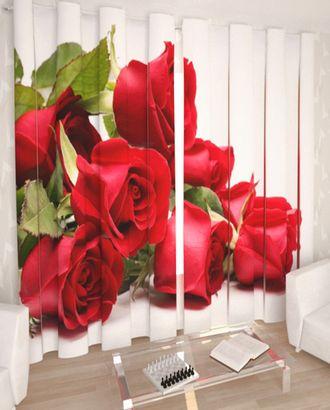 """Фотошторы """"Красные розы"""" габардин 2,9*2,5 на шторной тесьме арт. ТКС-359-1-ТКС0017540600"""