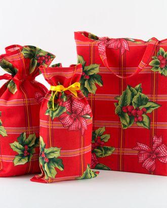 Рождественский букет скатерть рогожка 150 см * 145 см арт. ТЕКСД-3704-1-ТЕКСД0003704