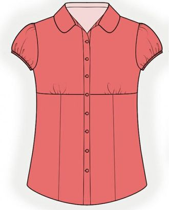 Выкройка: белая блузка арт. ВКК-1730-1-ЛК0004059