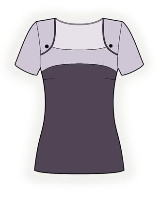 Выкройка: блузка с кокеткой арт. ВКК-1373-1-ЛК0004321