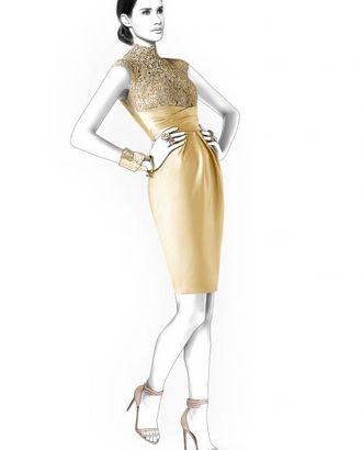 Выкройка: платье с гипюровым верхом арт. ВКК-1041-1-ЛК0004405