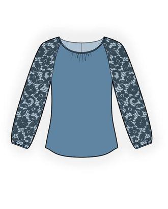 Выкройка: блузка с кружевными рукавами арт. ВКК-957-1-ЛК0004496
