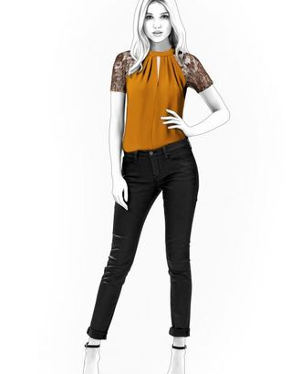 Выкройка: блузка с гипюровыми рукавами арт. ВКК-1384-1-ЛК0004539