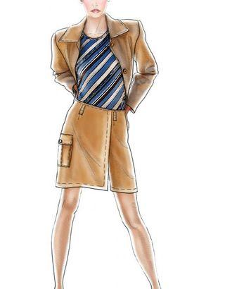 Выкройка: юбка с накладным карманом арт. ВКК-1421-1-ЛК0005093