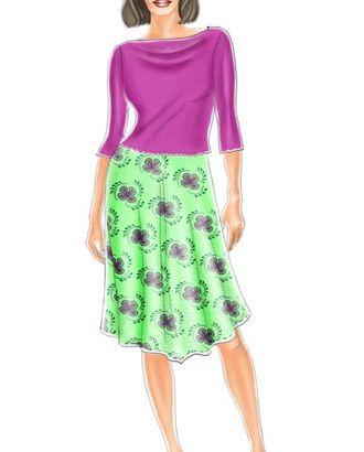 Выкройка: юбка с v-образной линией низа арт. ВКК-1025-1-ЛК0005122