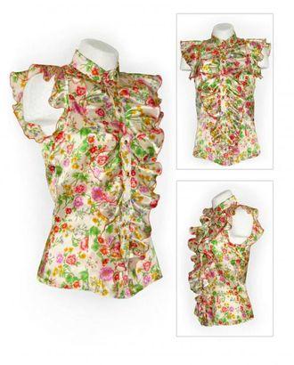 Выкройка: блузка с воланами арт. ВКК-1462-1-ЛК0005827