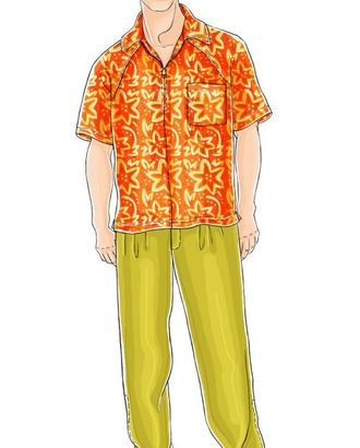 Выкройка: рубашка с коротким рукавом арт. ВКК-838-1-ЛК0006056