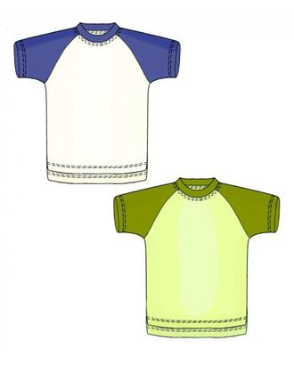 Выкройка: футболка с рукавом реглан арт. ВКК-1605-1-ЛК0007163
