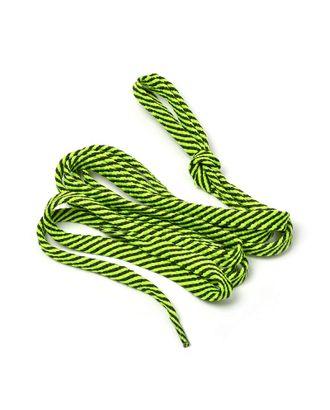 Шнурки плоские 9 мм 7с859 длина 100см, компл.2шт, цв.черный с люминисц.салатовый арт. МГ-138-1-МГ0152575