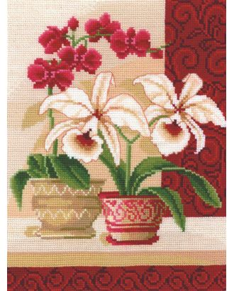 Набор для вышивания СДЕЛАЙ СВОИМИ РУКАМИ Изящные орхидеи 20х25 см арт. МГ-14885-1-МГ0156248