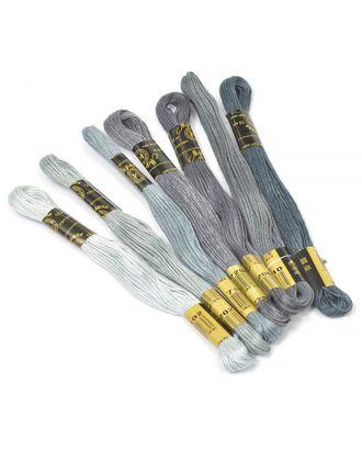 """Нитки мулине """"Цветик-семицветик"""" 10м набор 7 мотков №8-серый лепесток арт. МГ-16700-1-МГ0163321"""
