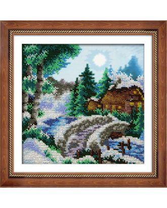 Набор для вышивания бисером ПАУТИНКА Зимний пейзаж 20х20 см арт. МГ-17136-1-МГ0165327