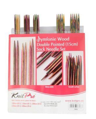 """Набор чулочных спиц Knit Pro 20651 длиной 15см """"Symfonie"""" дерево, многоцветный, 5 видов спиц в наборе (2мм; 2,5мм; 3мм; 3,5мм; 4мм) арт. МГ-19207-1-МГ0179497"""