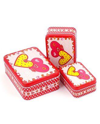 """Набор жестяных коробочек цв.4 """"Сердце"""" прямоугл. 18х13, 14х10,12х8 (3шт) арт. МГ-20932-1-МГ0190358"""