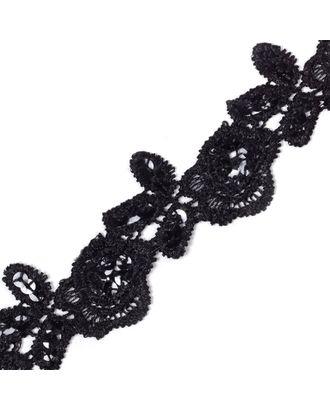 Кружево на сетке с пайетками JH008 ш.4см цв.черный арт. МГ-68498-1-МГ0190800