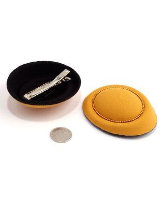 Шляпа (таблетка) р.8х7см цв.горчичный арт. МГ-2898-1-МГ0216289