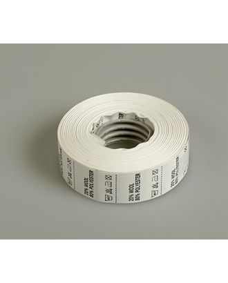Состав и уход за тканью, Wool 20% Pоlyester 80%, цв.белый, 1000шт. арт. МГ-3562-1-МГ0240028