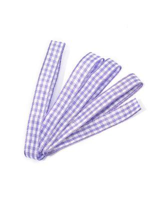 Лента тканевая с рисунком Клетка ш.1см фиолетовый/белый арт. МГ-70552-1-МГ0261262