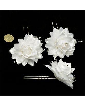 Шпильки с цветком цв.белый 6,5 см уп.60 шт арт. МГ-70581-1-МГ0262019