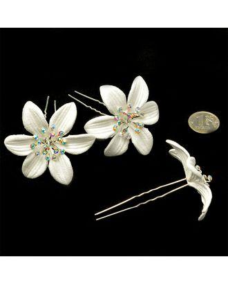 Шпильки с цветком цв.белый 6 см уп.20 шт арт. МГ-70582-1-МГ0262020