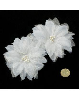 Шпильки с цветком цв.белый 6,5 см уп.60 шт арт. МГ-70583-1-МГ0262021